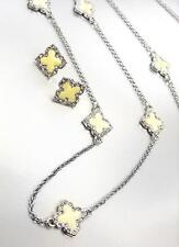 18kt White Gold Plated Creme Enamel Clover Clovers Long Necklace Earrings Set