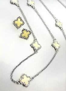 18kt White Gold Plated Creme White Enamel Clover Clovers Long Necklace Earrings