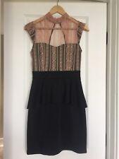 Ark & Co. Black Lace Dress Medium Backless Boutique Bandage Peplum