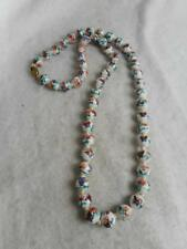 ANTIQUE CHINESE EXPORT PAINTED FLORAL & BIRD 9MM PORCELAIN BEAD KNOTTED NECKLACE