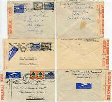 WW2 CENSORED SOUTH AFRICA 1940 to NETHERLANDS AIRMAIL 3 DIFFERENT ETIQUETTES