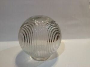 """6"""" Clear Glass Light Fixture Replacement Globe Ribbed – Preowned"""