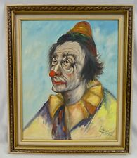 LOUIS SPIEGEL Signed Oil on Canvas Framed SAD CLOWN Portrait.1960s