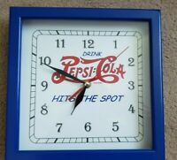 Drink Pepsi-Cola Hits The Spot Quartz Battery Wood Frame Clock