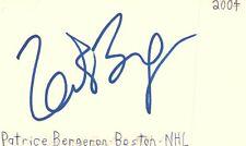 Patrice Bergeron Boston Nhl Hockey Autographed Signed Index Card