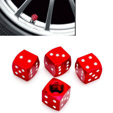 Aluminium Red Dice Tire Wheel Air Valve Stem Cap 4pcs For Nis inf