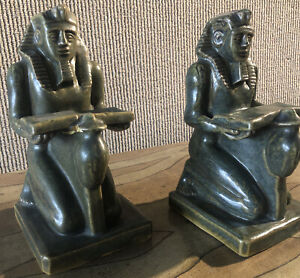 Rare Antique Fulper pottery Ramses Pharaoh Bookends Egyptian revival As Is