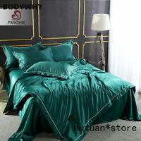 Dark Green Color Bedding Set 100%Silk Duvet Cover Silky Bed Set Flat Sheet 4pcs