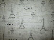 PARIS LAND MARK MAP FRENCH EIFFEL TOWER TAN COTTON FABRIC BTHY