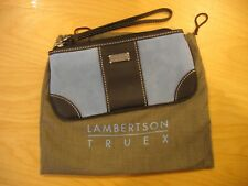 LAMBERTSON TRUEX Blue Suede Clutch w/Brown Leather Trim Bloomingdales Elle