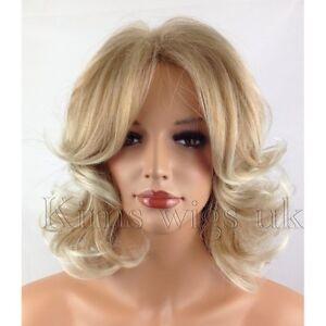 BLONDE LADIES WIG WOMENS SHORT CURLY SHOULDER LENGTH FASHION HAIR FULL HEAD UK