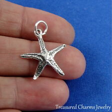 925 Sterling Silver Starfish Charm - Ocean Beach Nautical Pendant Jewelry NEW