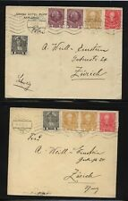 Austria  nice franking  2  covers to Switzerland  1909 , 1910         MS1120