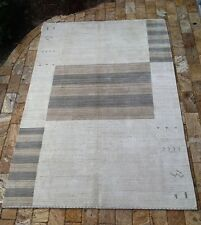 Contemporary Indian hand made Cream Wool Area Rug 5' x 8'