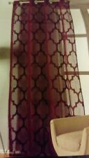 "Plum Lattice Print Moroccan Eyelet Ring Top Voile Sheer Curtain Panel 90"" NEW"