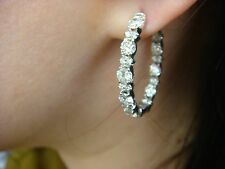 "4.25 CT LARGE DIAMONDS IN AND OUT ""GARLAND"" DESIGN OVAL HOOP EARRINGS, 7.6 GRAMS"