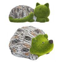 Flocked Grass Effect & Stone Garden Decoration Ornament Animal Outdoor Sculpture