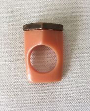 MARNI Gorgeous Orange Pentagon Plastic Ring with Bronze Pentagon Size 7 or M.