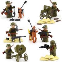 6pcs Militär Soldaten Bausteine Blocks mit WW2 Armee Figuren Waffen Spielzeug