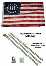 2x3 2'x3' Betsy Ross Nyberg 3 % Percent Flag Aluminum Pole Kit Gold Ball Top