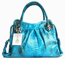 AUTHENTIC PYTHON SNAKE LEATHER HANDBAG SHOULDER BAG SHINY BLUE TURQUOISE SOFT