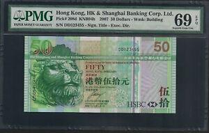 2007 Hong Kong HSBC $50 Note HKG208d # DD123455 Superb Gem UNC PMG 69 EPQ