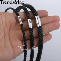 "Womens Mens Choker 4/6/8mm 14-40"" Black Braided Cord Rope Leather Necklace Gift"