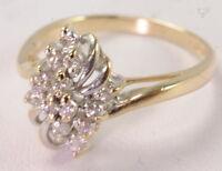 Ladies 10K Yellow & White Gold 1/3 CTTW Diamond Cocktail Cluster Estate Ring