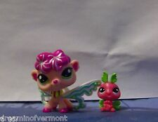 Littlest Pet Shop Pink Fairy with Baby Friend #2706 New Loose