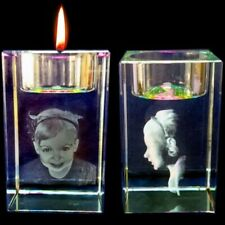 Personalised 3D Laser  Etched CRYSTAL GLASS BLOCK GIFT Candle Holder