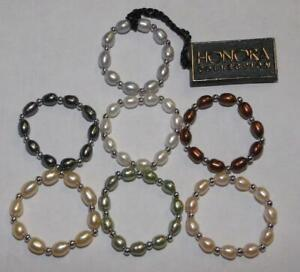 Lot of 7 HONORA Sterling Silver Pearl Stretch Rings PINK GREEN WHITE Sz 7-8.5