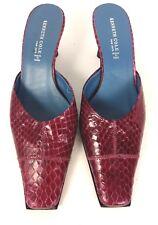 Kenneth Cole womens purple snakeskin leather slides kitten heel shoes size 7.5