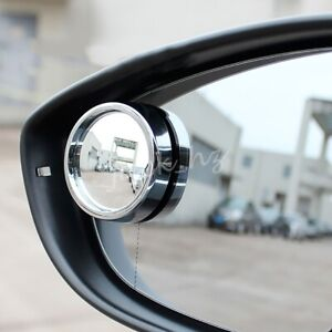 Chrome Round Vehicle Side Rearview Back Up Blind Spot Mirror 45mm (Set Of 2)