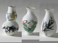 3 Vases miniature en porcelaine peinte,motifs bambous et oiseaux,Grues du japon.