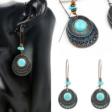 1 Pair Vintage Charm Turquoise Dangle Drop Hook Earrings Women Fashion Jewelry