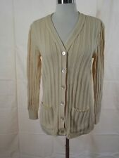 Vtg 1960s Mademoiselle Knitwear IVORY Sporty CABLE KNIT CARDIGAN SWEATER Sz S