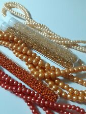 Job Lot of Glass Pearls and Glass Beads 3 Tubes and 3 Strings (5)