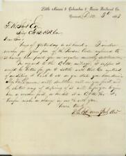 1863 LITTLE MIAMI & COLUMBUS & XENIA RAILROAD CO. LETTER CIVIL WAR CINCINNATI OH