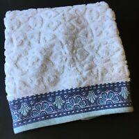 World Market Medalion Noelle Sculpted Bath Towel White Blue 28 X 54