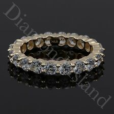3.4CT Round Brilliant Cut Eternity Wedding Band Ring 14K Yellow Gold Size 8