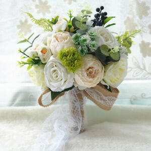 """10"""" Bride Bouquet Real Touch White Rose Creamy Peony Wedding Lace Bow Décor"""