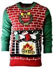 Men's FIREPLACE Stockings Holiday Party Ugly Christmas Xmas Sweater Sz L A932