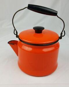 Vintage mid century orange enamel ware tea kettle pitcher farmhouse chic camping