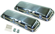 Aluminum Valve Covers Short Polished Ball Milled 65-95 Big Block Chevy 396-454