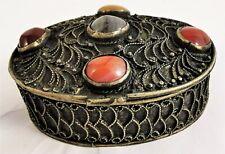 Box Stone Filigree Trinket Silvered Small Tone Vintage Pill Vtg Jewelry Natural