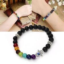 Hamsa Bracelet Evil Eye Amulet Charm Kabbalah Hand Lava Rock Prayer Stones NEW U