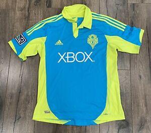 Adidas Seattle Sounders Cyan Clint Dempsey #2 Large MLS Soccer Jersey