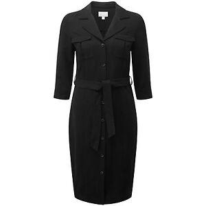 BNWT Pure Collection Silk Linen Shirt Dress - Black UK Size 16 RRP £150