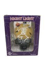 Costco Halloween Skeleton Night Light Full Moon Plastic Plug In Light Tested EUC