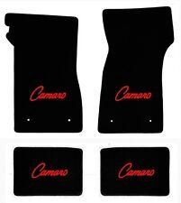 NEW 1967-69 Camaro Floor Mats Black Carpet Embroidered Script Logo Red on all 4